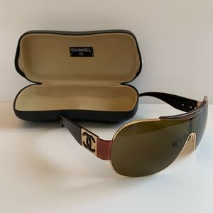 Chanel Gold Tortoise Shield Wrap Sunglasses